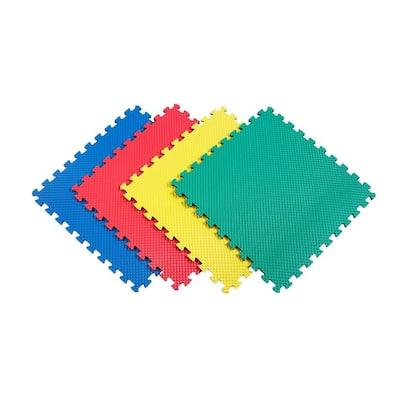 Multicolor-Gray 24 in. x 24 in. EVA Foam Multi-Purpose Reversible Interlocking Tiles (128 sq. ft. - 32 tiles)