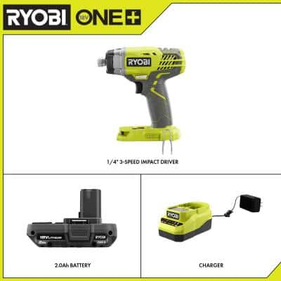 ONE+ 18V Cordless 3-Speed 1/4 in. Hex Impact Driver with 2.0 Ah Battery and Charger