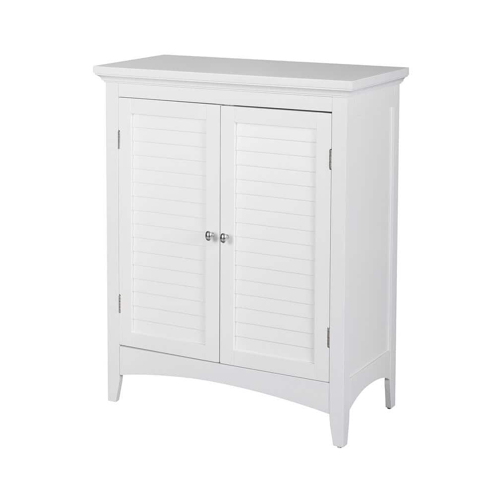 Elegant Home Fashions Simon 26 In W X 13 In D X 32 In H Bathroom Linen Storage Floor Cabinet With 2 Shutter Doors In White Hdt585 The Home Depot