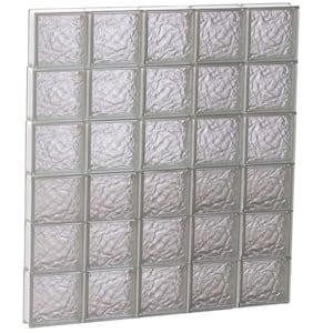 38.75 in. x 46.5 in. x 3.125 in. Frameless Ice Pattern Non-Vented Glass Block Window