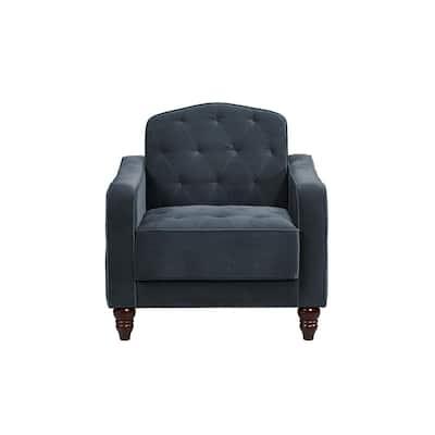 Vintage Tufted Blue Velvet Armchair