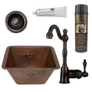 Bronze 16 Gauge Copper 15 in. Dual Mount Rectangle Bar Sink with Faucet and Strainer Drain