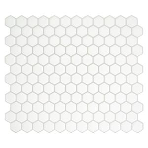 Hexago White 11.27 in. x 9.63 in. Vinyl Peel and Stick Tile (2.80 sq. ft./ 4-pack)