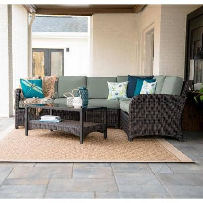 Jackson 5-Piece Wicker Outdoor Sectional with Sunbrella Sage Cushions