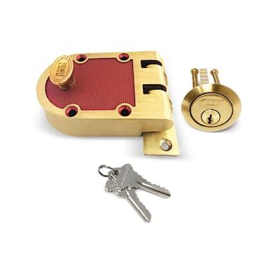 Satin Bronze US10 Heavy-Duty Single Cylinder Jimmy Proof Deadbolt Lock with Flat Strike and 2 SC1 Keys