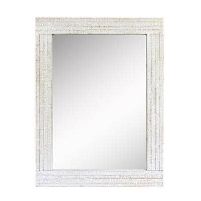 24in x 18in Cottage Style  Rectangle Worn White Wood Framed Accent Mirror