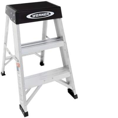 2 ft. Aluminum Step Ladder (8 ft. Reach Height) with 300 lbs. Load Capacity Type IA Duty Rating