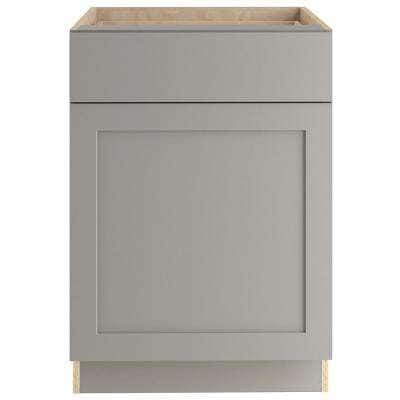 Edson Shaker Assembled 24x34.49x24.44 in. Base Cabinet with Soft Close Full Extension Drawer in Gray