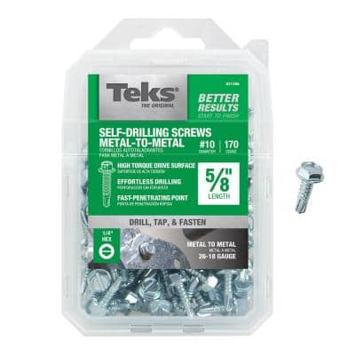 #10-16 x 5/8 in. Slot Hex Hi-Hat Serrated Drill Point Screw (170-Pack)