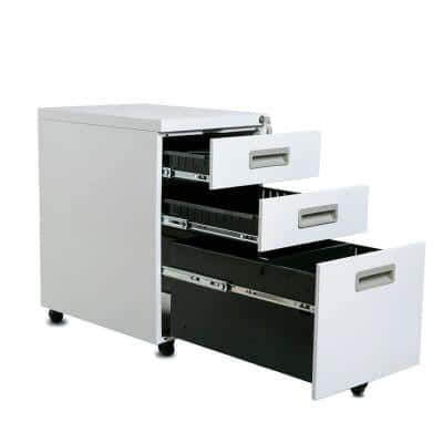 3-Drawer White Mobile Plastic Handle Metal File Cabinet with Keys