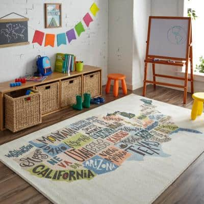 States Map Multi 8 ft. x 10 ft. Themed Area Rug