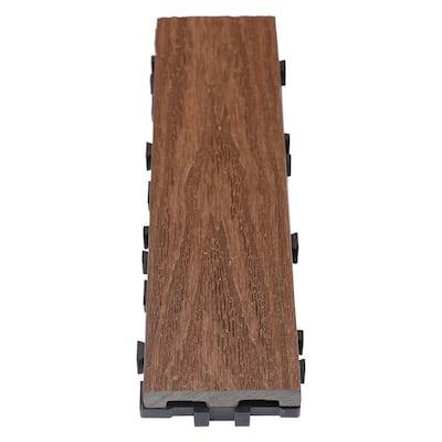 UltraShield Naturale 3 in. x 1 ft. Quick Composite Single Slat Deck Tile in California Redwood (4-Pieces per Box)