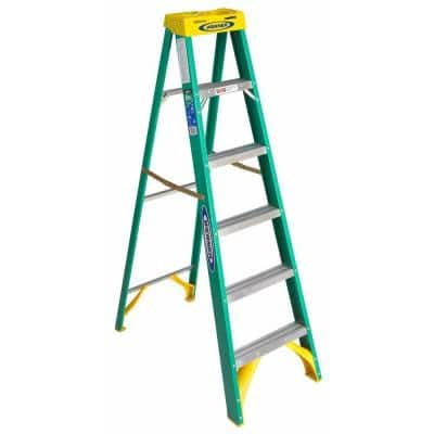 6 ft. Fiberglass Step Ladder with Yellow Top 225 lb. Load Capacity Type II Duty Rating