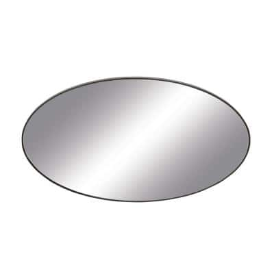 Medium Oval Black Modern Mirror (32 in. H x 17 in. W)