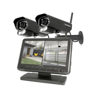 """PHOENIXM2 Non-Wi-Fi. Plug-In Power Security Camera System with 7"""" Monitor SD Card Recording and 2 Night Vision Cameras"""