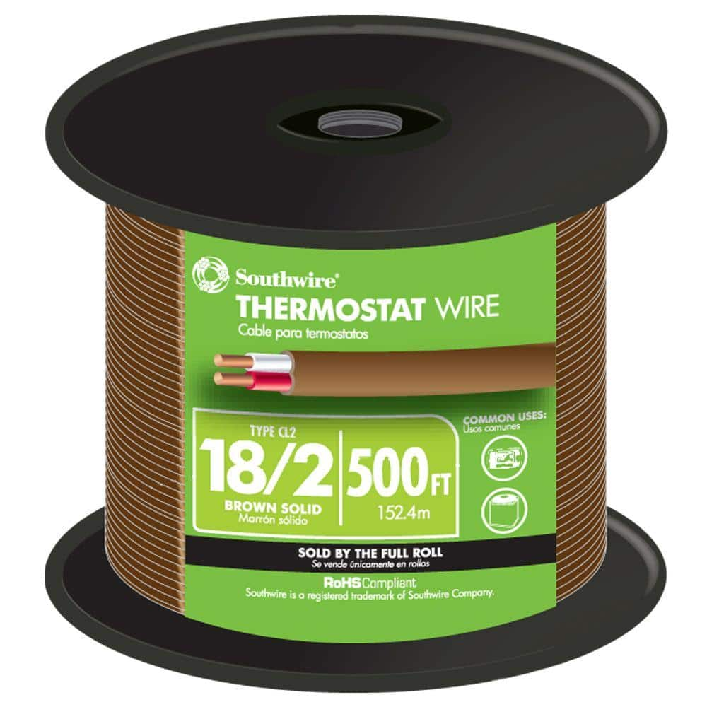 Southwire 500 ft. 18/2 Brown Solid CU CL2 Thermostat Wire-64162144 - The  Home Depot | Hvac Thermostat Wiring Gauge |  | The Home Depot