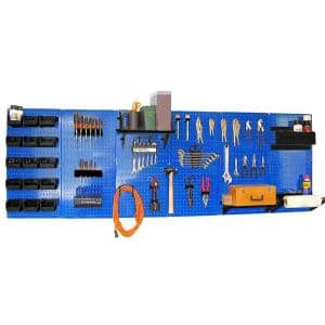 32 in. x 96 in. Metal Pegboard Master Workbench Tool Organizer with Blue Pegboard and Black Accessories
