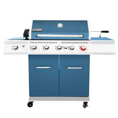 5-Burner Propane Gas Grill in Blue with Rotisserie Kit