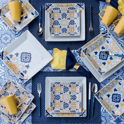 Quartier Blue and Yellow 32-Piece Casual Blue and Yellow Porcelain Dinnerware Set (Service for 8)