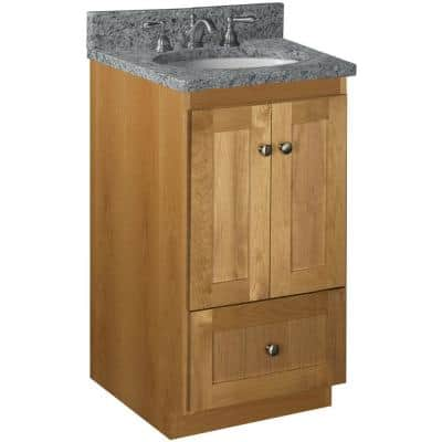Shaker 18 in. W x 21 in. D x 34.5 in. H Simplicity Vanity with No Side Drawers in Natural Alder