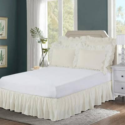 Ruffled 14 in. Drop Ivory Wraparound Queen Bed Skirt
