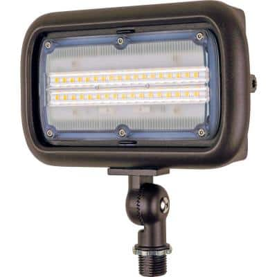 30-Watt Bronze Outdoor Integrated LED Landscape Weatherproof Wall Wash Flood Light with Adjustable Mounting Bracket