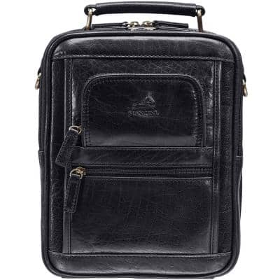 Arizona 8.5 in. W x 4 in. D x 10 in. H Black Leather Large Crossbody Bag with Zippered Rear Organizer