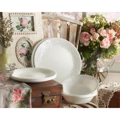 Embossed 16-Piece Country/Cottage White Glass Dinnerware Set (Service for 4)