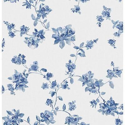 Wen Sapphire Festival Floral Sapphire Wallpaper Sample