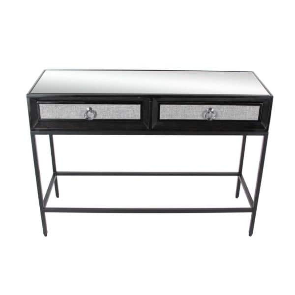 Litton Lane Classic 3 Piece 45 In Black Standard Rectangle Metal Console Table Set With Drawers 39859 The Home Depot