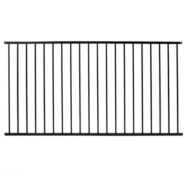 Fortress Versai 4 Ft H X 7 5 Ft W Gloss Black Steel Flat Top And Bottom Design Fence Panel 712489044 The Home Depot