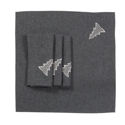 0.1 in. H x 20 in. W x 20 in. D Lovely Christmas Tree Embroidered Napkins in Dark Gray (Set of 4)