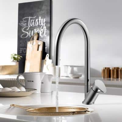 Oni Single-Handle Hidden Pull Down Sprayer Kitchen Faucet with CeraDox Technology in Polished Chrome