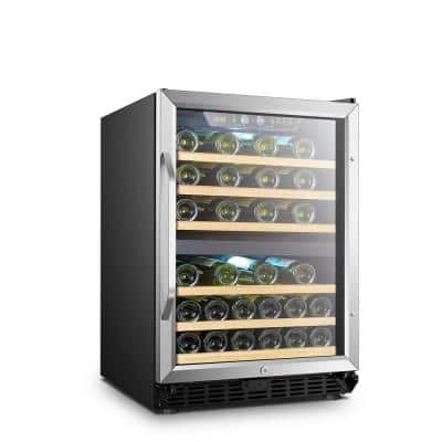 25 in. 44-Bottle Stainless Steel Dual Zone Wine Refrigerator