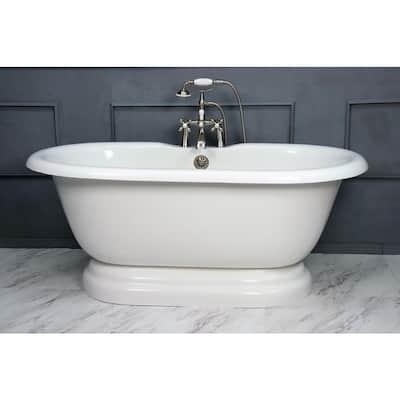 60 in. AcraStone Acrylic Double Pedestal Flatbottom Non-Whirlpool Bathtub and Faucet in Satin Nickel