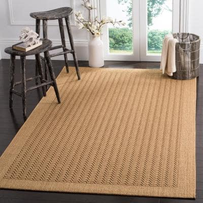 Palm Beach Maize 8 ft. x 10 ft. Solid Border Area Rug
