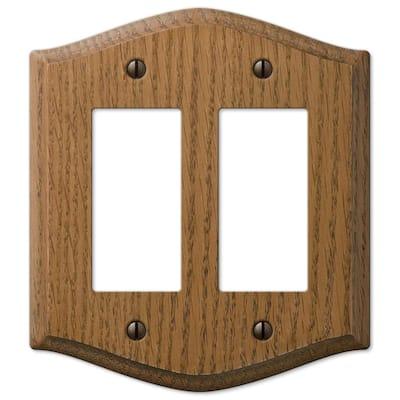 Country 2 Gang Rocker Wood Wall Plate - Medium Oak