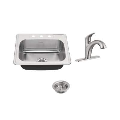 Colony ADA All-in-One Drop-In Stainless Steel 25 in. 3-Hole Single Bowl Kitchen Sink with Faucet in Stainless Steel