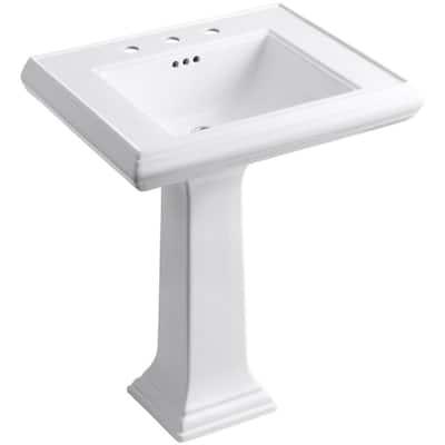 Memoirs Classic Ceramic Pedestal Bathroom Sink in White with Overflow Drain