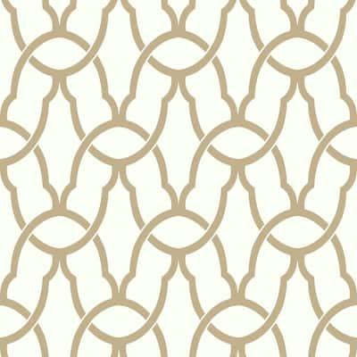 Trellis Gold Geometric Vinyl Peel & Stick Wallpaper Roll (Covers 28.18 Sq. Ft.)