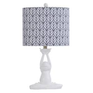 Halifax 24 in. Whimsical White Table Lamp with Navy and White Printer Shade