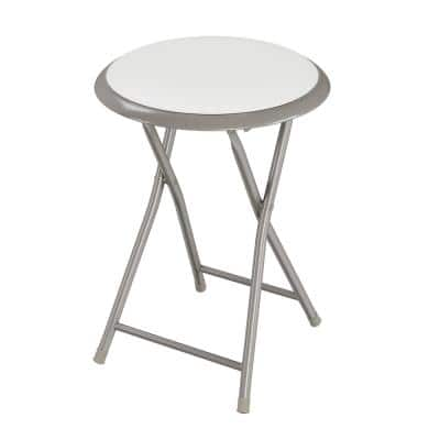 18 in. White Round Metal Heavy-Duty Padded Folding Bar Stool