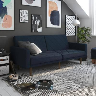 Paige Blue Linen Upholstered Futon