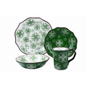 Samana 16-Piece Casual Euro Green Stoneware Dinnerware Set (Service for 4)