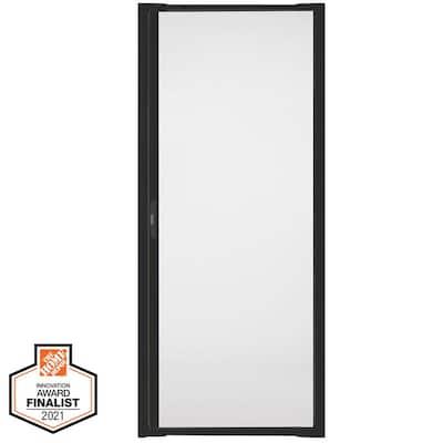 36 in. W x 80 in. H LuminAire Black Universal Aluminum Retractable Screen Door