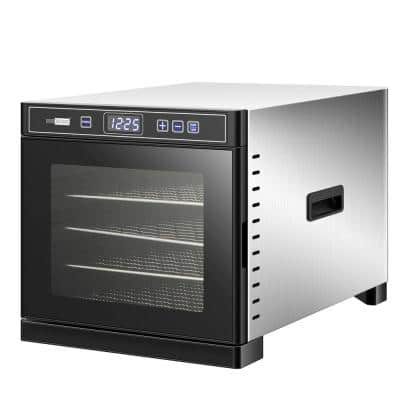 600W 6-Tray Stainless Steel Food Dehydrator with Digital Timer and Temperature Control