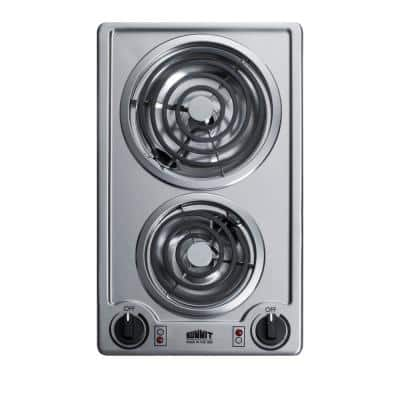 12 in. Coil Electric Cooktop in Stainless Steel with 2 Elements