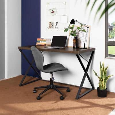 Computer Desk 47.2 in. W Walnut X-shaped Cross Metal Legs Legs MDF Wood