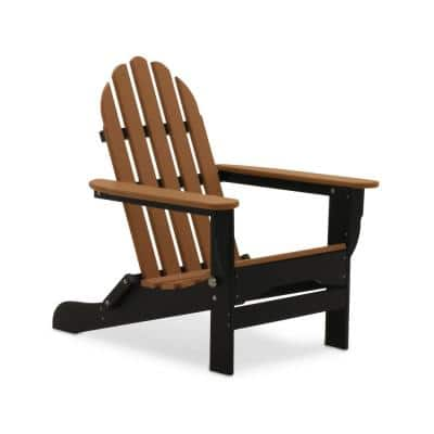 Icon Black and Teak Plastic Folding Adirondack Chair