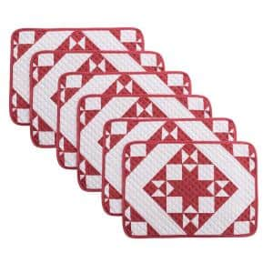 Little Stars 19 in. x 13 in. Red Quilted Microfiber Placemat (Set of 6)